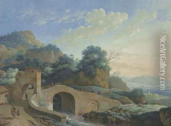 A mountain landscape with a bridge over a river in the foreground Oil Painting - Jacob Philipp Hackert