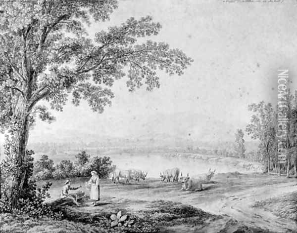 A view of the lake at Persano Oil Painting - Jacob Philipp Hackert