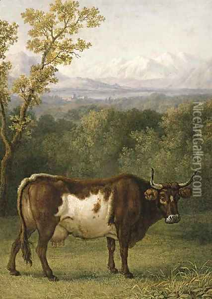 A cow out to pasture, an Alpine landscape beyond Oil Painting - Jacob Philipp Hackert