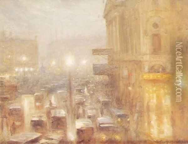 Matinee afternoon, Picadilly Circus (study) Oil Painting - Arthur Hacker