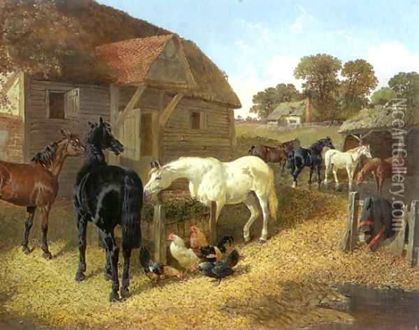 Farm Animals, Horses and Chickens in Farmyard Oil Painting - John Frederick Herring Snr