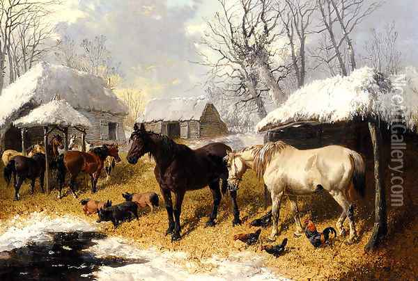 A Farmyard Scene In Winter Oil Painting - John Frederick Herring Snr
