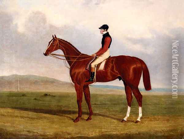 Elis, A Chestnut Racehorse With John Day Up Waering The Colours Of Lord Lichfield, A Racehorse Beynd Oil Painting - John Frederick Herring Snr