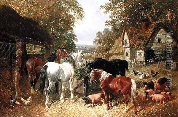 Four Horses, Pigs and Poultry in a Farmyard Oil Painting - John Frederick Herring Snr