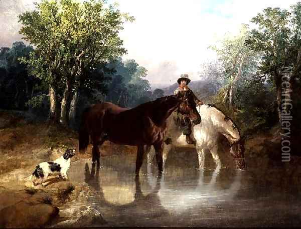 Two horses, a man and a dog by a stream Oil Painting - John Frederick Herring Snr