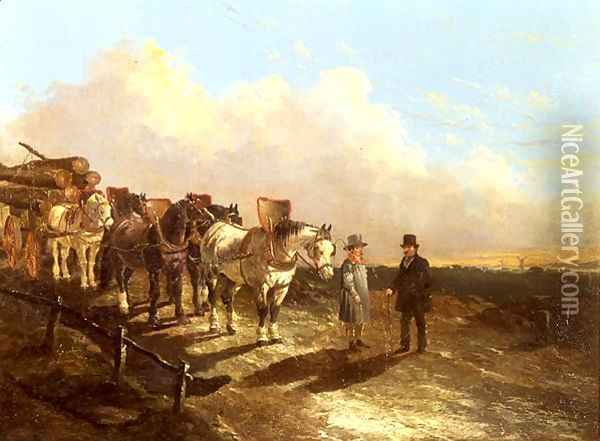 A Timber Cart Halted On A Road At Dusk, 1849 Oil Painting - John Frederick Herring Snr