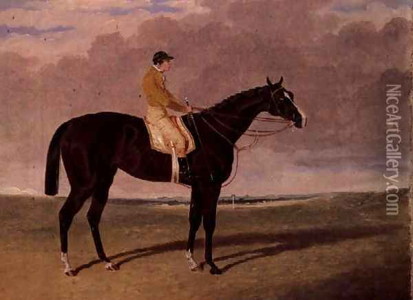 Queen of Trumps, a bay racehorse with jockey Oil Painting - John Frederick Herring Snr