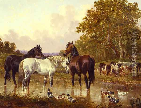 At the Watering Spot Oil Painting - John Frederick Herring Snr