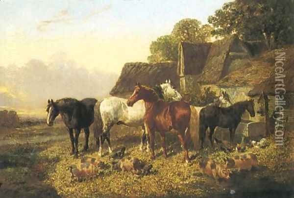 Horses And Pigs By Trough 1864 Oil Painting - John Frederick Herring Snr