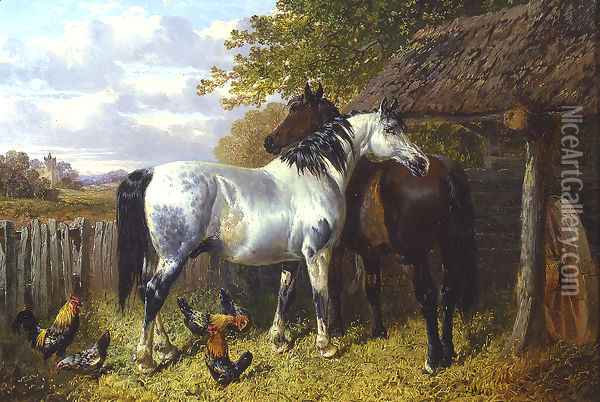 Horses and Poultry in a Paddock Oil Painting - John Frederick Herring Snr