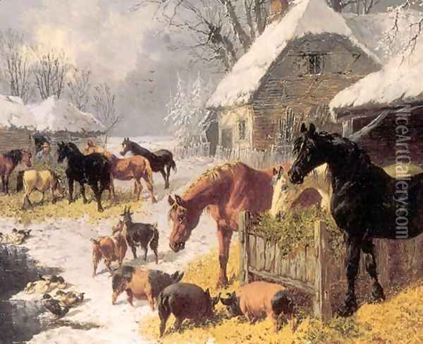 Horses and Pigs in Winter Oil Painting - John Frederick Herring Snr