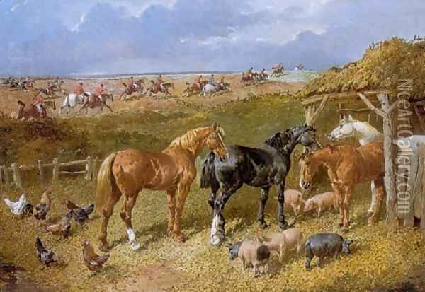 Hunters Poultry and Pigs with Foxhunt in Background Oil Painting - John Frederick Herring Snr
