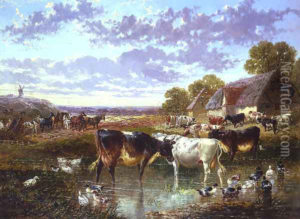 The Watering Hole Oil Painting - John Frederick Herring Snr