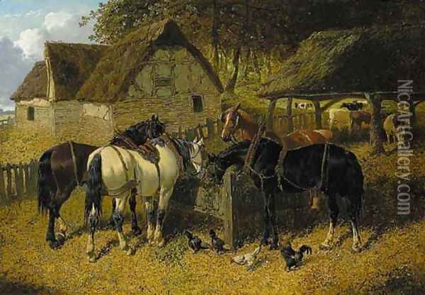 Horses feeding in a farmyard, with chickens, and cattle beyond Oil Painting - John Frederick Herring Snr