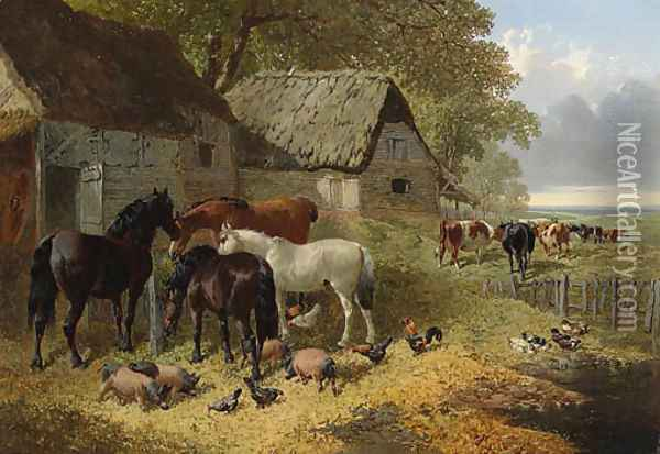 Horses, Cattle, Pigs, Chickens and Ducks in a Farmyard Oil Painting - John Frederick Herring Snr
