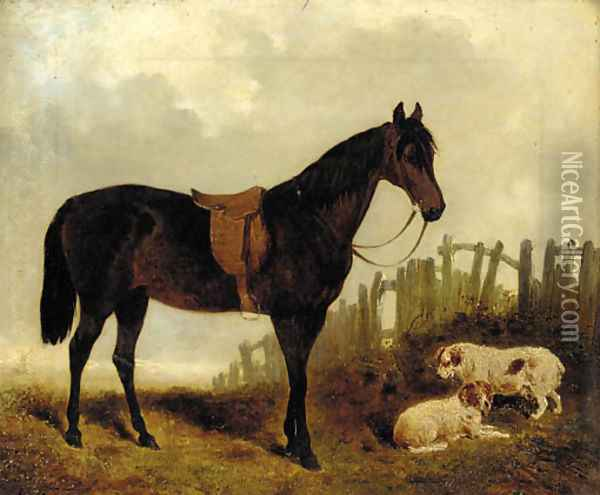A saddled dark brown hunter with two dogs in a landscape Oil Painting - John Frederick Herring Snr