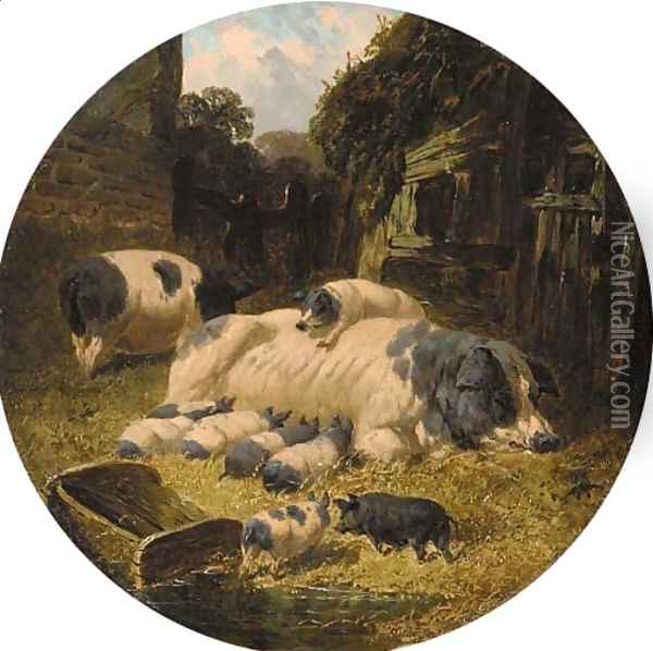 Berkshire saddlebacks with pigs and piglets in a farmyard Oil Painting - John Frederick Herring Snr