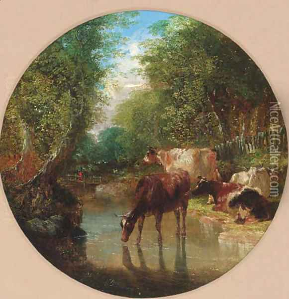 Cattle watering in a wooded landscape Oil Painting - John Frederick Herring Snr