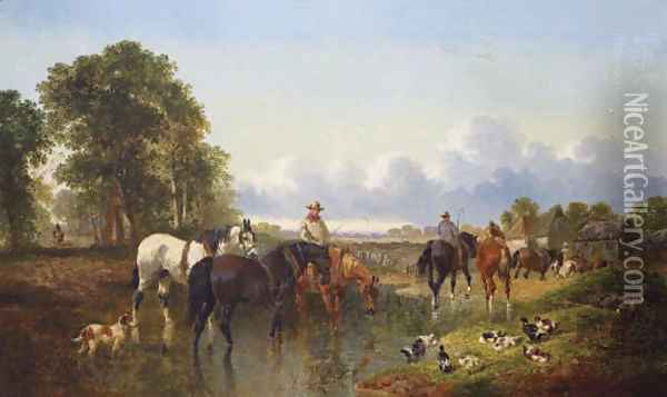 The Watering Place Oil Painting - John Frederick Herring Snr