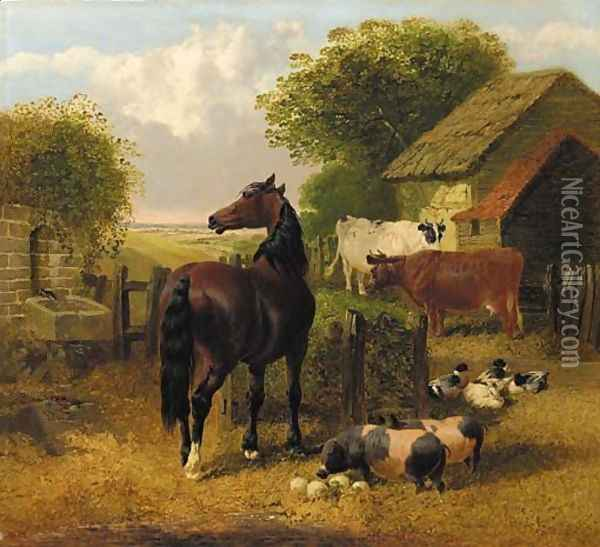 A horse, pigs, ducks and cattle in a farmyard Oil Painting - John Frederick Herring Snr