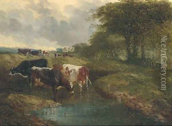 Cattle watering in an extensive landscape Oil Painting - John Frederick Herring Snr