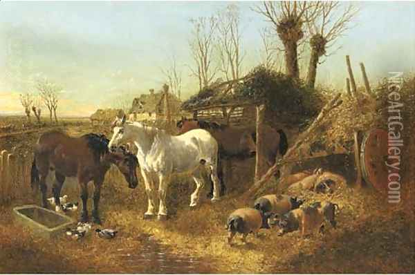 Horses and pigs in a farmyard Oil Painting - John Frederick Herring Snr