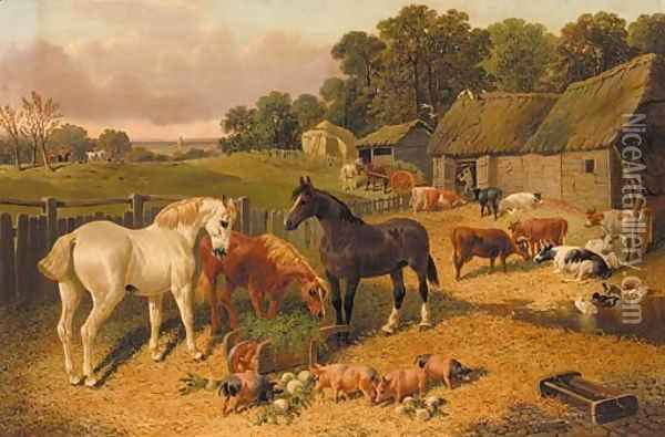 Horses, cattle, pigs, and ducks, in a farmyard, a hunt beyond Oil Painting - John Frederick Herring Snr
