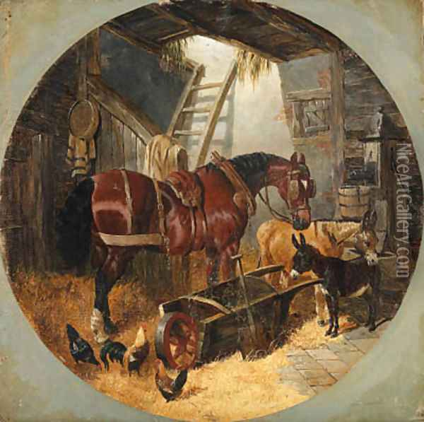 A horse with donkeys and chickens in a barn Oil Painting - John Frederick Herring Snr