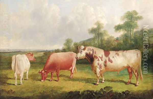 A bull and cows in a wooded landscape Oil Painting - John Frederick Herring Snr