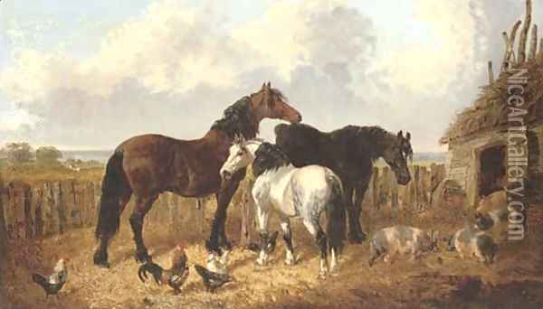 A peaceful day in the farmyard Oil Painting - John Frederick Herring Snr