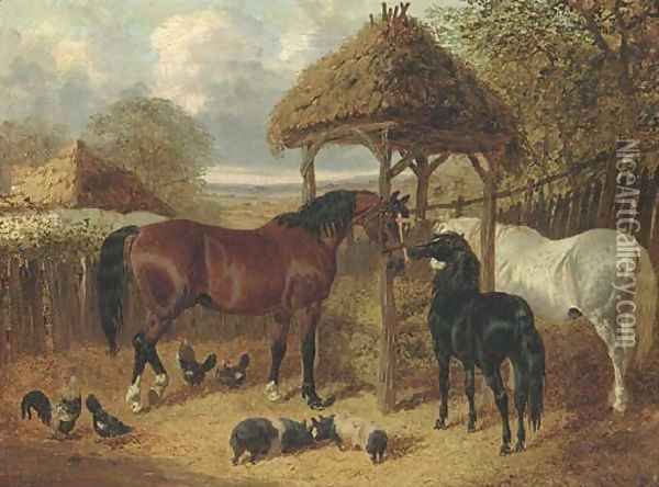 In the farmyard Oil Painting - John Frederick Herring Snr