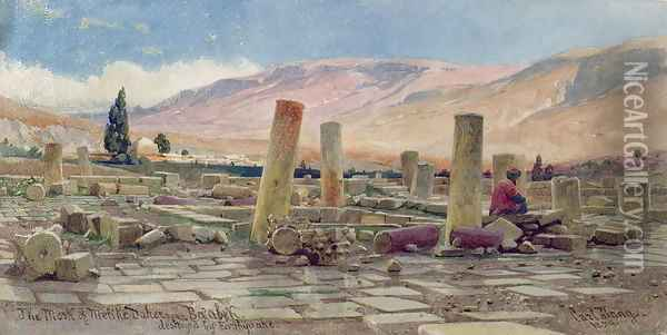 The Mosque of Melike near Baalbek destroyed by an Earthquake Oil Painting - Carl Haag