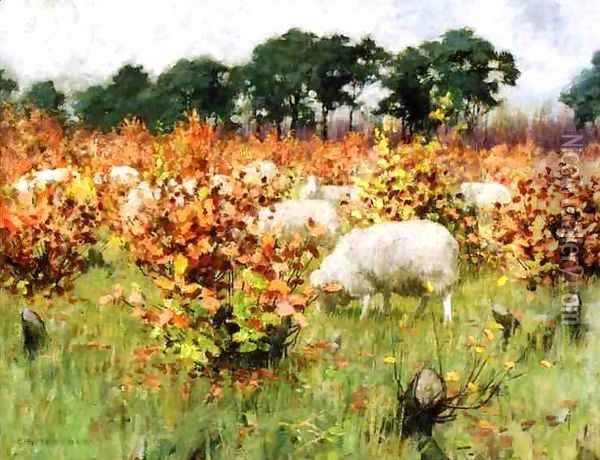 Grazing Sheep Oil Painting - George Hitchcock