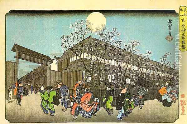 Famous Sights in the Eastern Capital- Cherry Blossom in the Evening on the Nakanomachi in Yoshiwara, Oil Painting - Utagawa or Ando Hiroshige