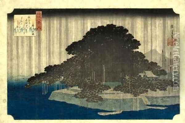 Evening Rain at Karasaki (Karasaki no yau) Oil Painting - Utagawa or Ando Hiroshige