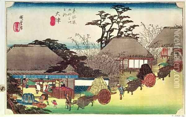 Otsu illustration from Fifty Three Stations of the Tokaido Road Oil Painting - Utagawa or Ando Hiroshige