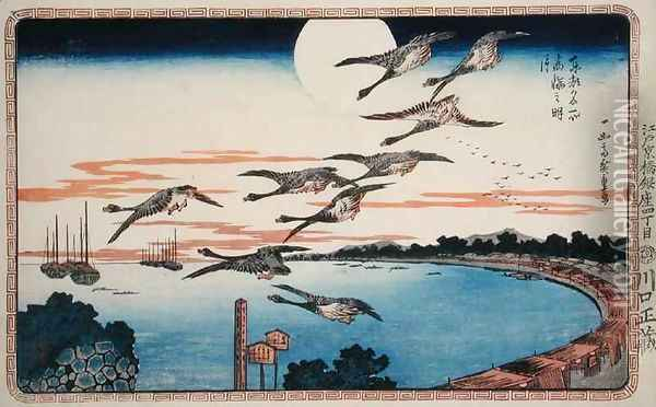 Full Moon at Takanawa from Celebrated places in the Eastern Capital of Edo Oil Painting - Utagawa or Ando Hiroshige