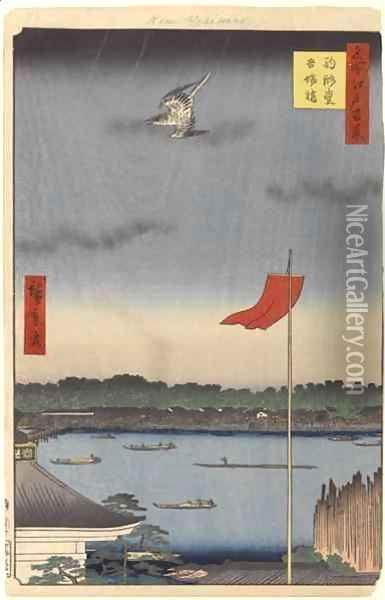 Komokata Hall and Azuma Bridge No62 from One Hundred Famous Views of Edo Oil Painting - Utagawa or Ando Hiroshige
