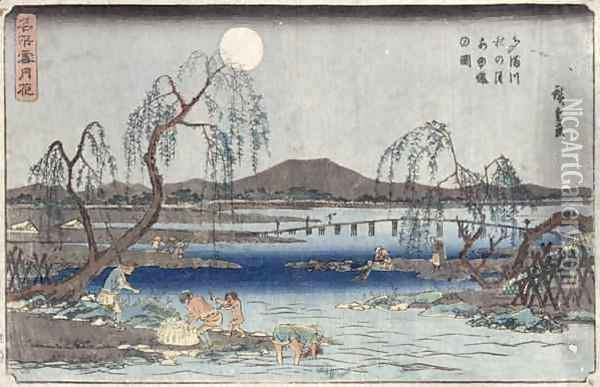 Catching Fish by Moonlight on the Tama River from a series Snow Moon and Flowers Oil Painting - Utagawa or Ando Hiroshige
