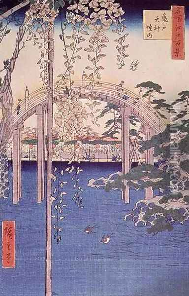 Footbridge over river with wisteria in foreground in full bloom Oil Painting - Utagawa or Ando Hiroshige