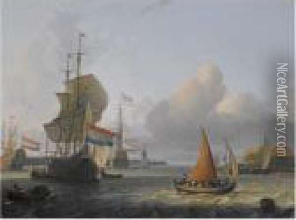 Shipping On The Ij At Volewijk Oil Painting - Ludolf Backhuysen