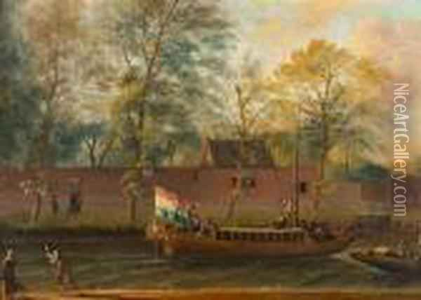 Ships In A Canal. Oil Painting - Ludolf Backhuysen
