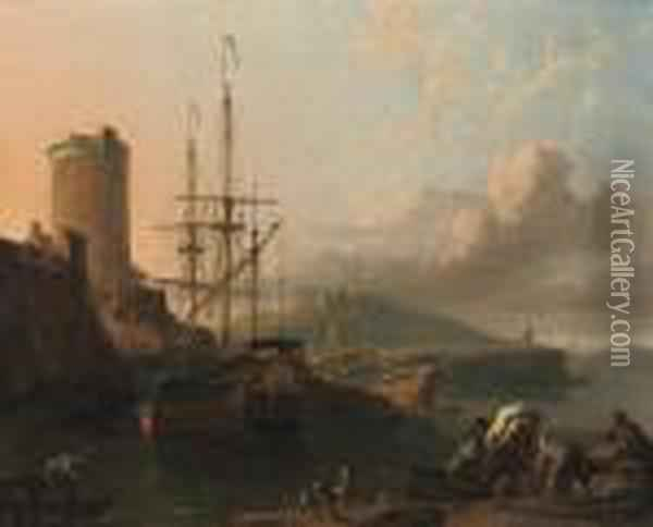 A Mediterranean Coastal Scene At  Sunset With A Royal Yacht Beingcaulked, A Tower By A Fort Nearby,  Sailors Unloading Cargo In Theforeground Oil Painting - Ludolf Backhuysen