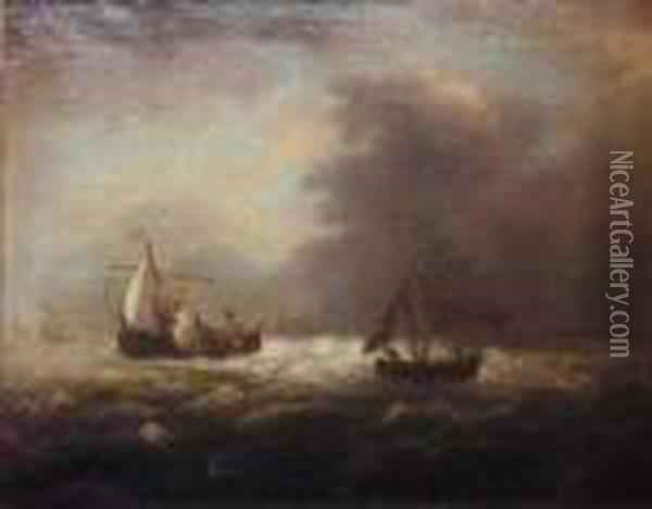 Follower Of Ludolph Backhuysen Shipping At Sea With A Stiff Breeze Oil Painting - Ludolf Backhuysen