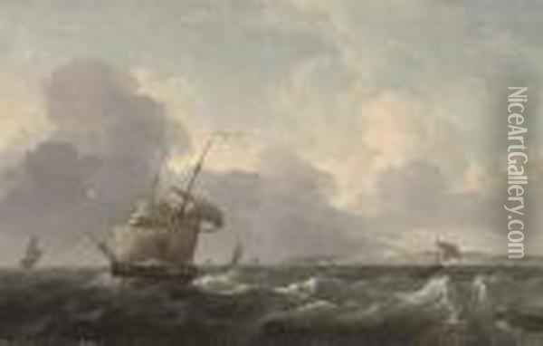 A Dutch Merchant Brig Shortening Sail Off The Coast Ahead Of The Approaching Squall Oil Painting - Ludolf Backhuysen