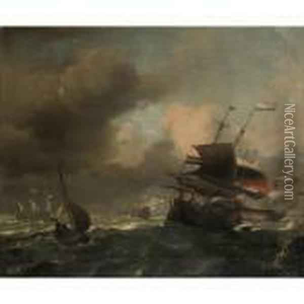 Dutch Two-deckers In A Gale Oil Painting - Ludolf Backhuysen