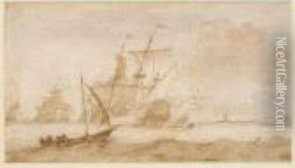 Seascape With Dutch Vessels In A Strong Wind Oil Painting - Ludolf Backhuysen