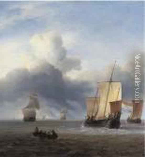 Shipping In Calm Waters Oil Painting - Ludolf Backhuysen