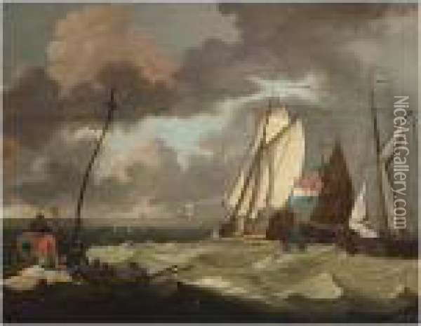 The States Yacht And Other Sailing Vessels In A Stiff Breeze Oil Painting - Ludolf Backhuysen
