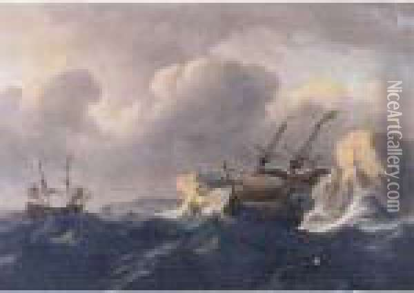 Shipping In A Storm Off A Rocky Coast Oil Painting - Ludolf Backhuysen